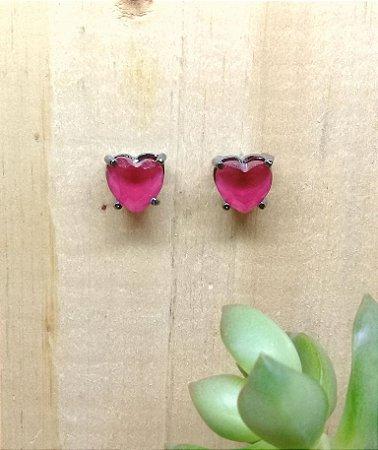 Brinco Coração Rubi Rosa Ródio Negro