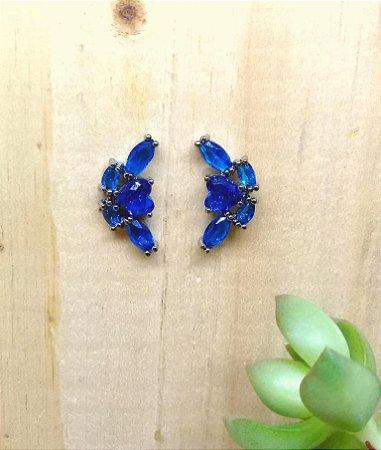 Mini Earcuff Azul Bic Ródio Negro