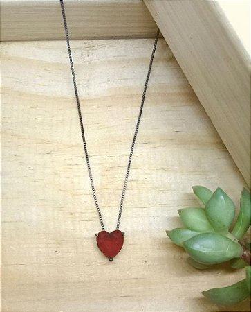 Colar Coração Rubi Rosa Ródio Negro