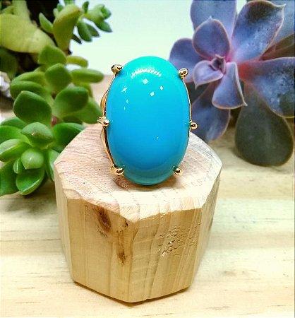 Anel Pedra Sintética Turquesa Dourado
