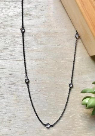 Colar Tiffany Cristal Ródio Negro