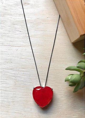 Colar Coração Grande Vermelho Fusion Ródio Negro