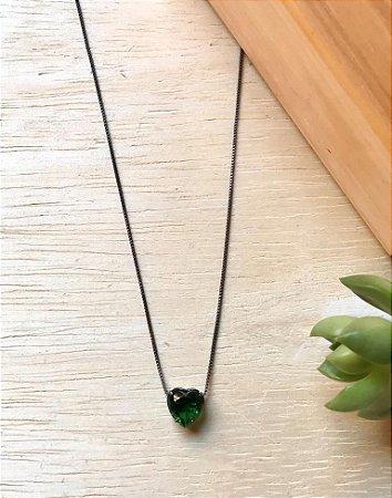 Colar Coração Verde Folha Ródio Negro
