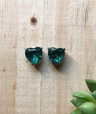 Brinco Coração Verde Paraíba Ródio Negro