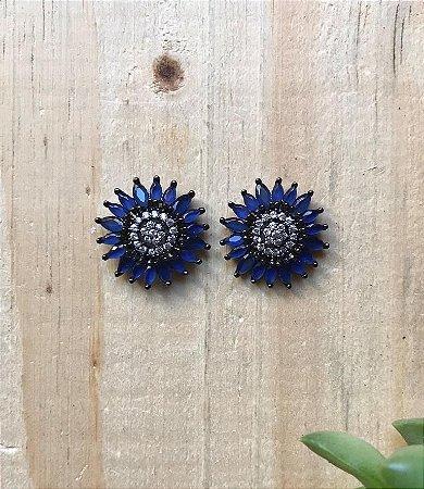 Brinco Azul Marinho Ródio Negro