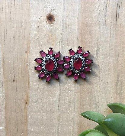 Brinco Rubi Rosa Ródio Negro