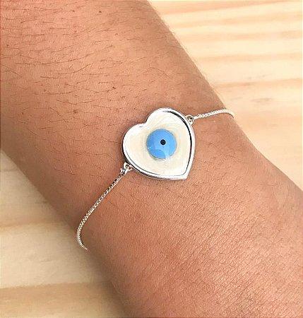 Pulseira Olho Grego Coração Prata 925