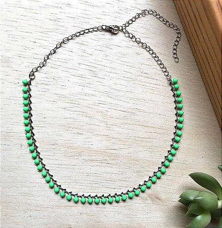 Chocker c/ Resina Verde Neon Ródio Branco