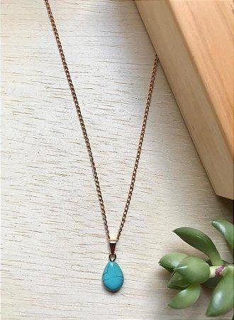 Colar Gota Pedra Natural Turquesa Dourado