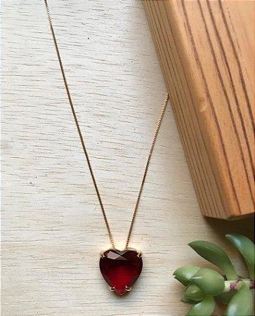 Colar Coração Rubi Dourado