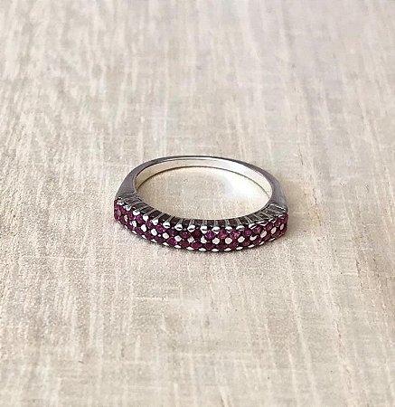 Anel Zircônia Rosa Prata 925