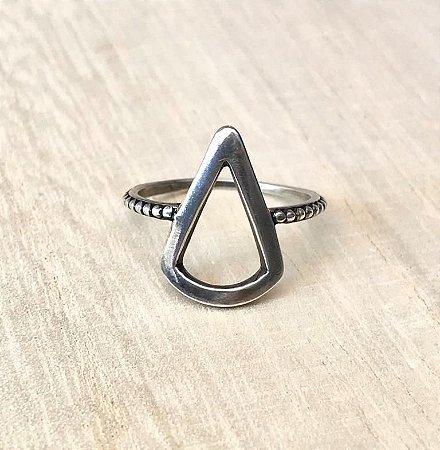 Anel Triângulo Vazado Prata 925