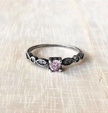 Anel c/ Zircônia Rosa Prata 925