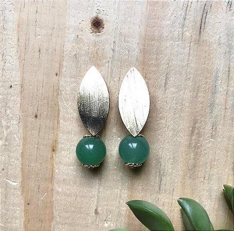 Brinco Pedra Natural Jaspe Verde Dourado