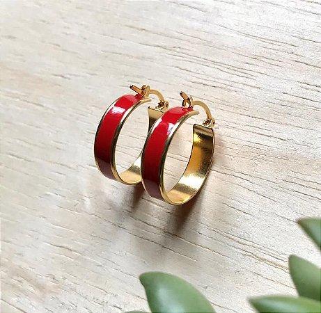 Brinco Argola Resina Vermelha Dourado