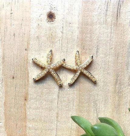 Brinco Estrela c/ Pérolinha Dourado