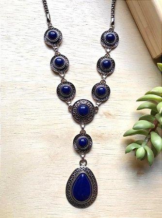 Colar Boho Pedra Azul Bic Prata Envelhecida