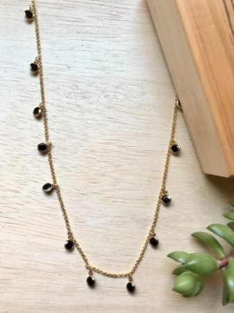 Colar Tiffany c/ Zircônia Ônix Pendurada Dourado