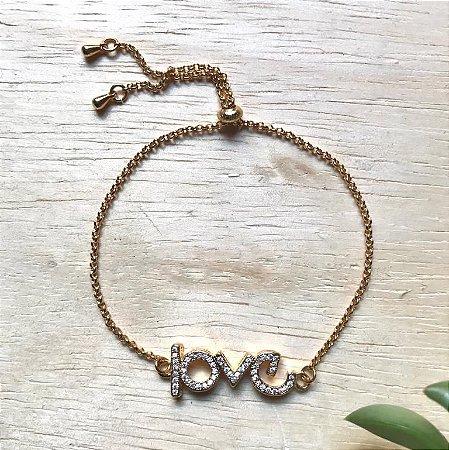 Pulseira Ajustável Love c/ Zircônias Dourado