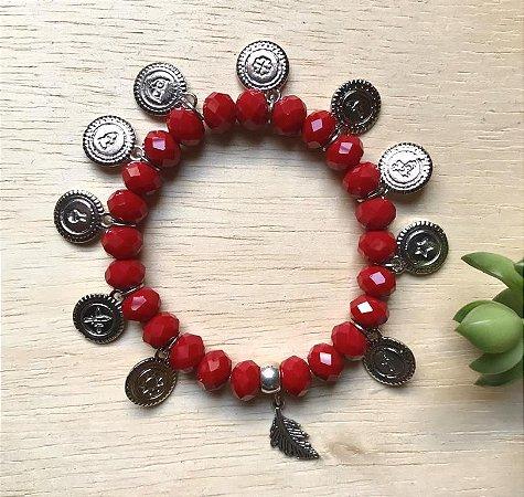 Pulseira Vermelha Sete Desejos Prata Envelhecida