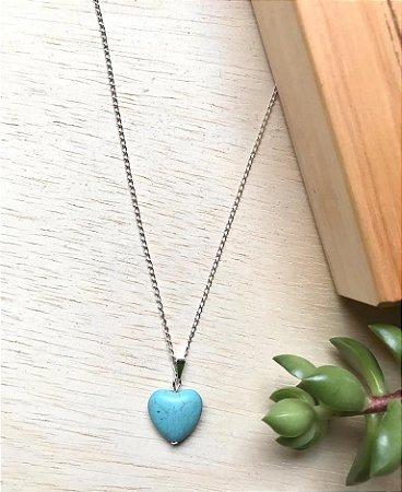 Colar Coração Pedra Natural Turquesa Prata
