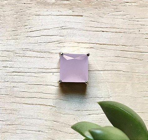 Pingente Quadrado Quartzo Rosa Ródio Branco