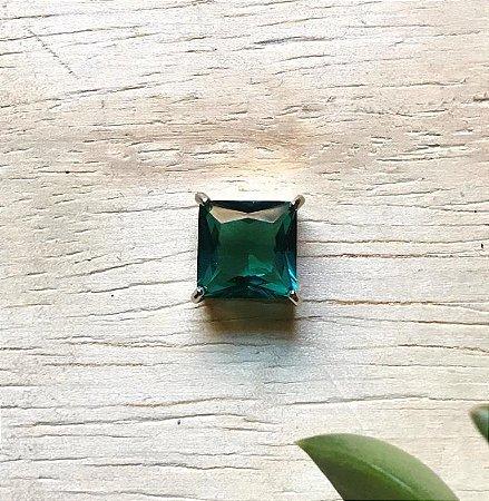 Pingente Quadrado Verde Paraíba Ródio Branco