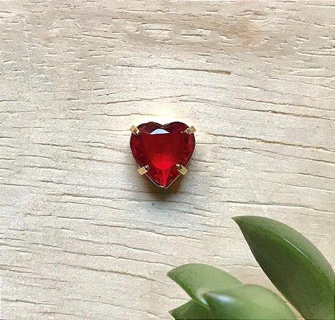 Pingente Coração Rubi Dourado