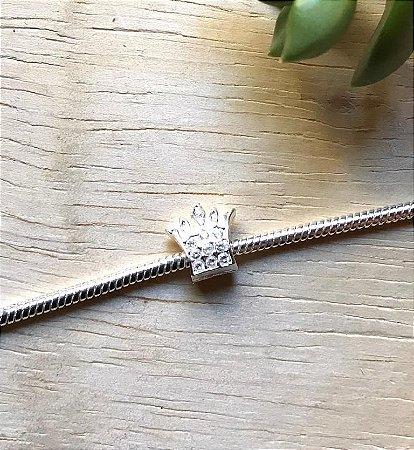 Berloque Coroa Zircônia Cristal Prata