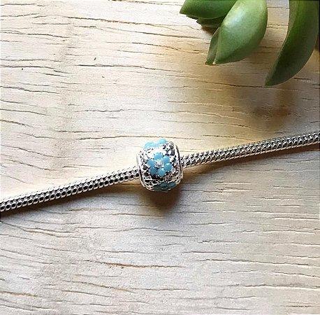 Berloque Flor Zircônia Azul Prata