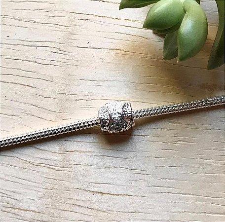 Berloque Separador Zircônia Cristal Prata