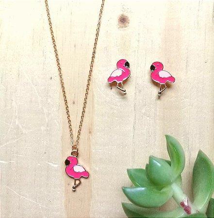 Conjunto Flamingo Rosa Dourado