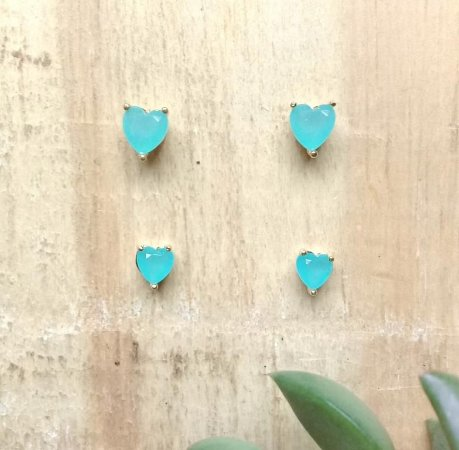 Brinco Coração c/ 2 pares Dourado