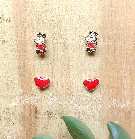 Kit Brincos Snoopy e Coração Dourado