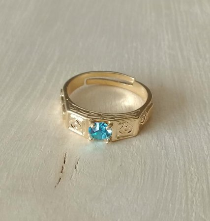 Anel Infantil de Formatura Pedra Azul Dourado