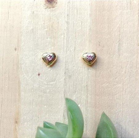 Brinco Coração c/ Zircônia Rosa Dourado