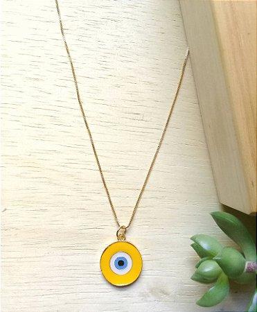 Colar Olho Grego Amarelo Dourado