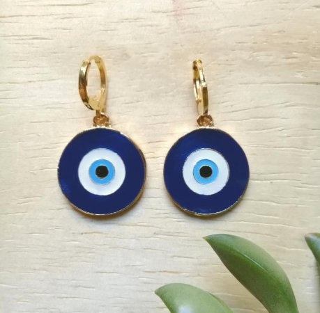 Brinco Argola c/ Olho Grego Azul Dourado