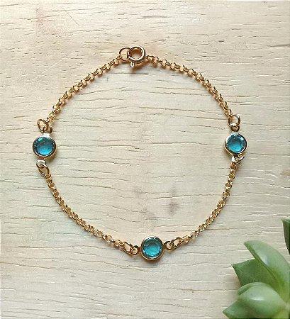 Pulseira c/ Zircônias Aquamarine Dourado