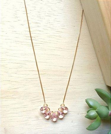 Colar Gotas Rosa Transparente Dourado