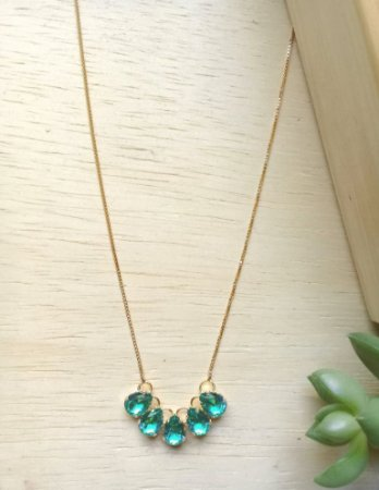 Colar Gotas Verde Paraíba Dourado