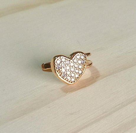 Piercing Fake Coração Cravejado Dourado