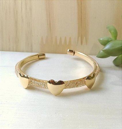 Bracelete Coração c/ Zircônias Dourado