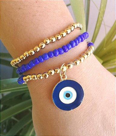 Mix de Pulseiras Olho Grego Cor Azul Dourado