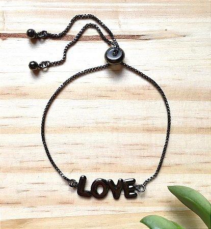 Pulseira Ajustável Love Ródio Negro