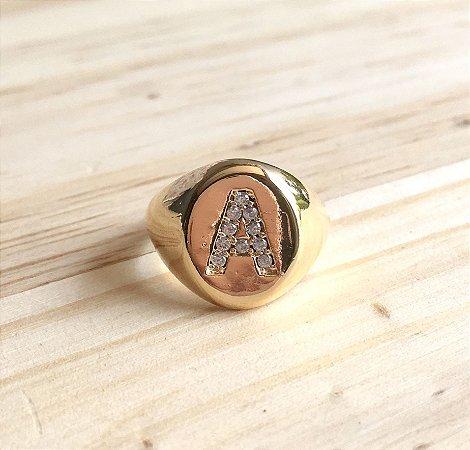 """Anel Inicial """"A"""" Dourado"""