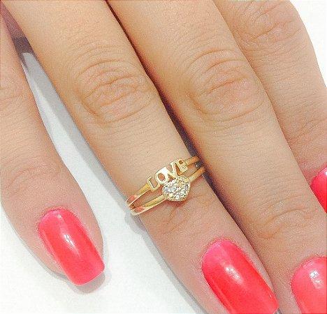 Anel Falange Love Dourado c/ Micro Zircônias