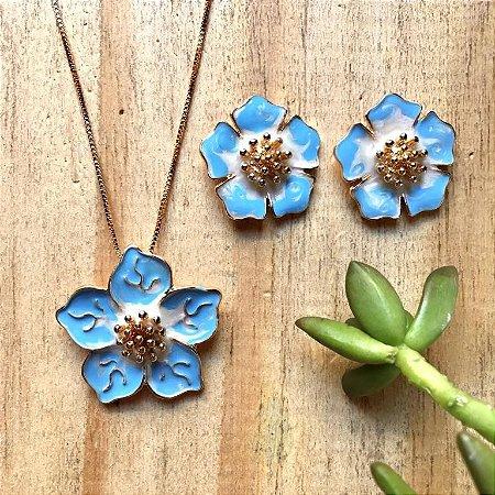 Conjunto Flor Azul Dourado