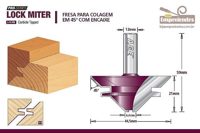 "Fresa AGE™ Pro-Series Amana Tool - ""Lock Miter"" 45° Haste de 12mm [FR342]"