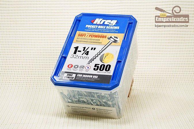 "Parafuso Kreg Rosca Grossa - 1.1/4"" - 32mm - 500 unidades [SML-C125-500]"
